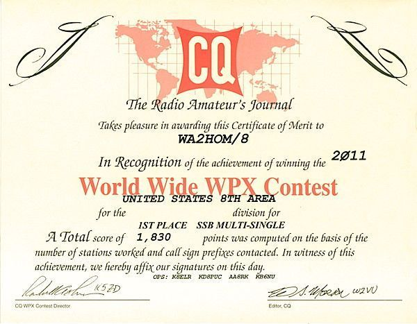 CQ WPX Certificate
